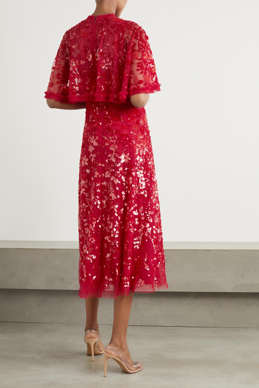 Needle & Thread Sequin Ribbon Ballerina cape-effect embellished tulle midi dress