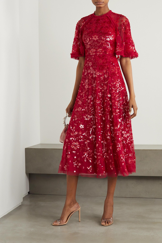 Cape Effect Sequin Dress
