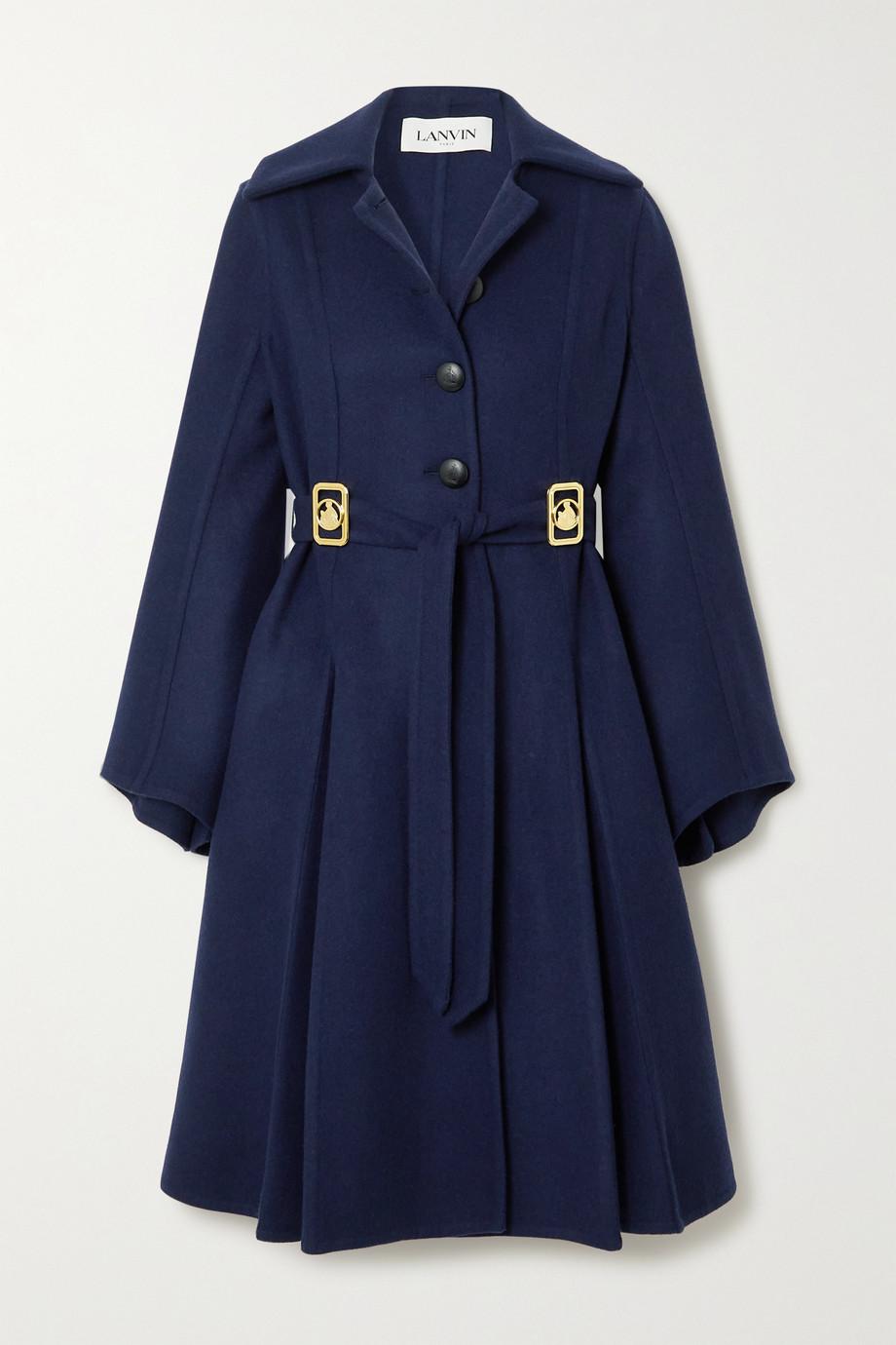 Lanvin Belted embellished wool-blend coat