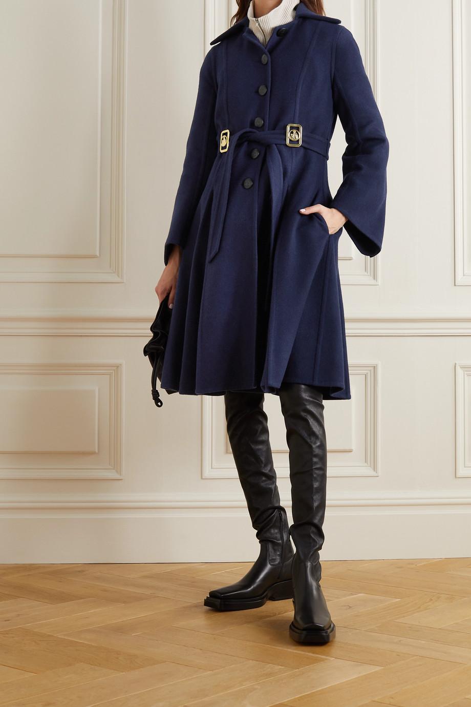 Lanvin Manteau en laine mélangée à ornements et à ceinture