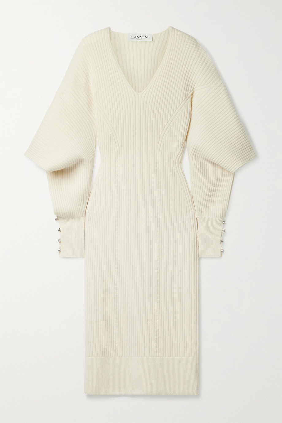 Lanvin Cutout embellished ribbed wool and cashmere-blend midi dress