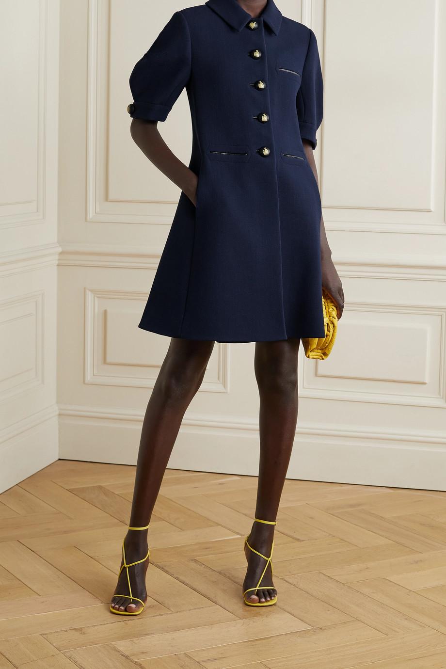 Lanvin Leather-trimmed textured wool-blend crepe mini dress