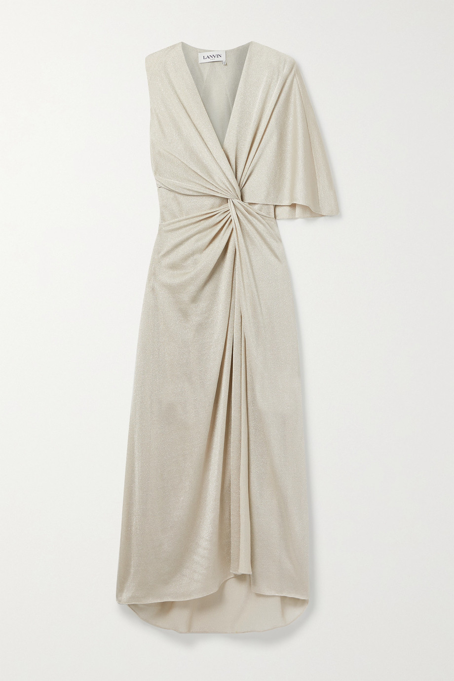 Lanvin Asymmetric knotted Lurex gown
