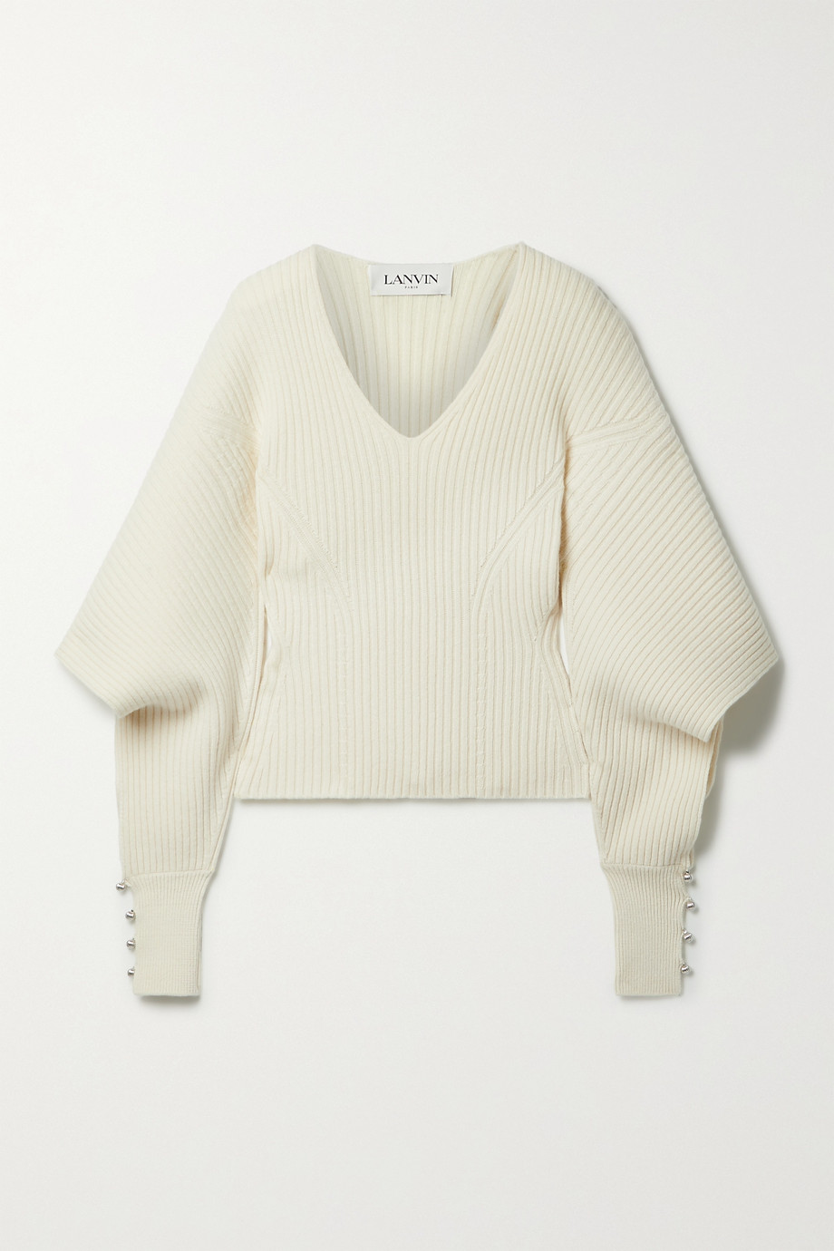 Lanvin Cutout embellished ribbed wool and cashmere-blend sweater