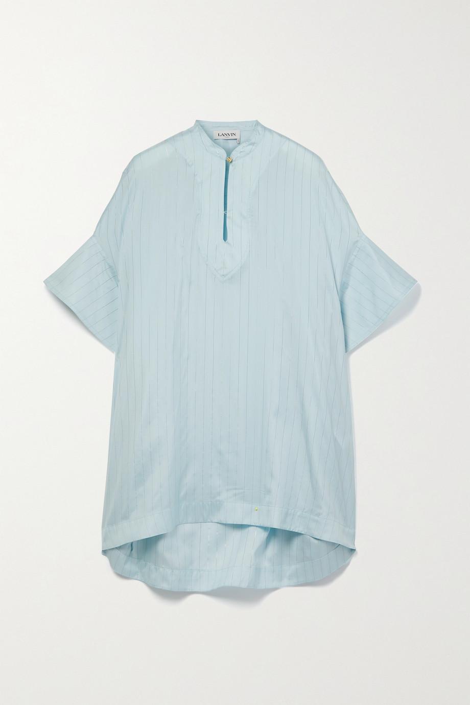 Lanvin Oversized pinstriped silk-blend Lurex blouse