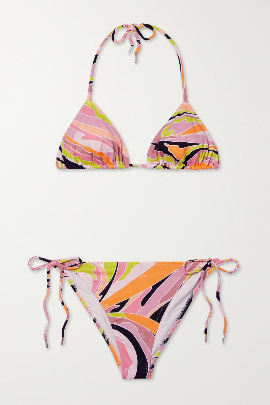 Emilio Pucci + NET SUSTAIN Vetrate printed triangle halterneck bikini