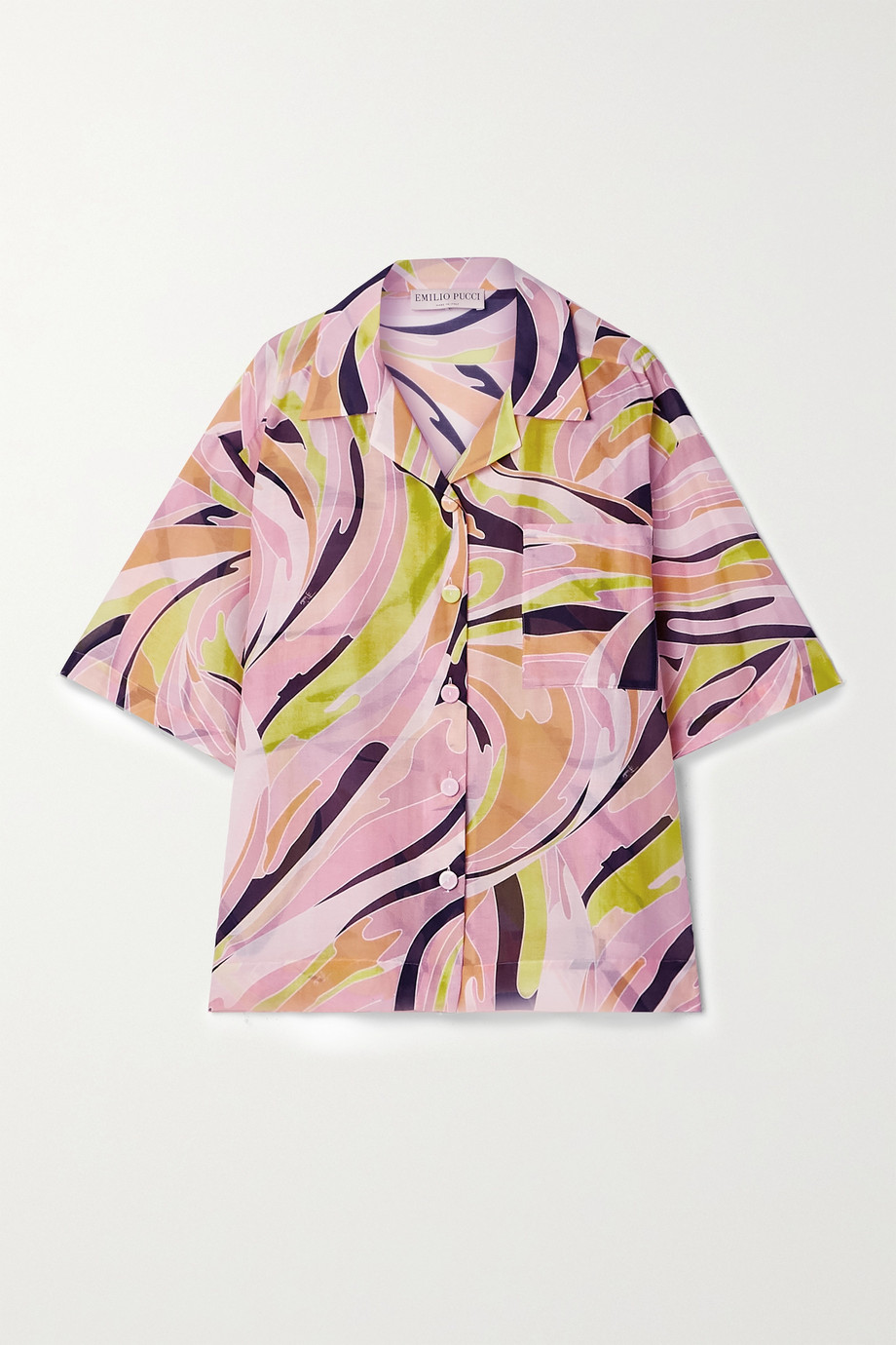 Emilio Pucci Oversized printed cotton and silk-blend shirt
