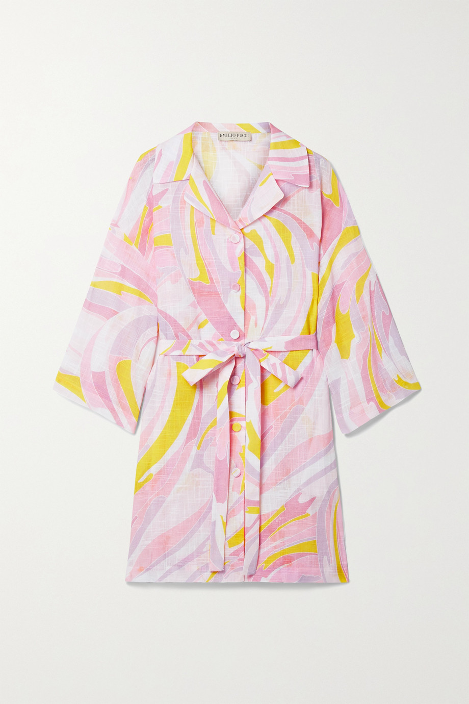 Emilio Pucci + NET SUSTAIN belted printed cotton-gauze mini shirt dress