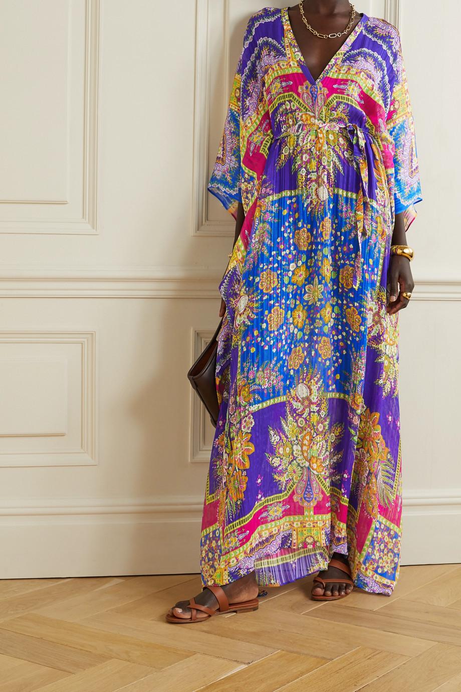 Etro Marretimo belted floral-print silk-jacquard kaftan