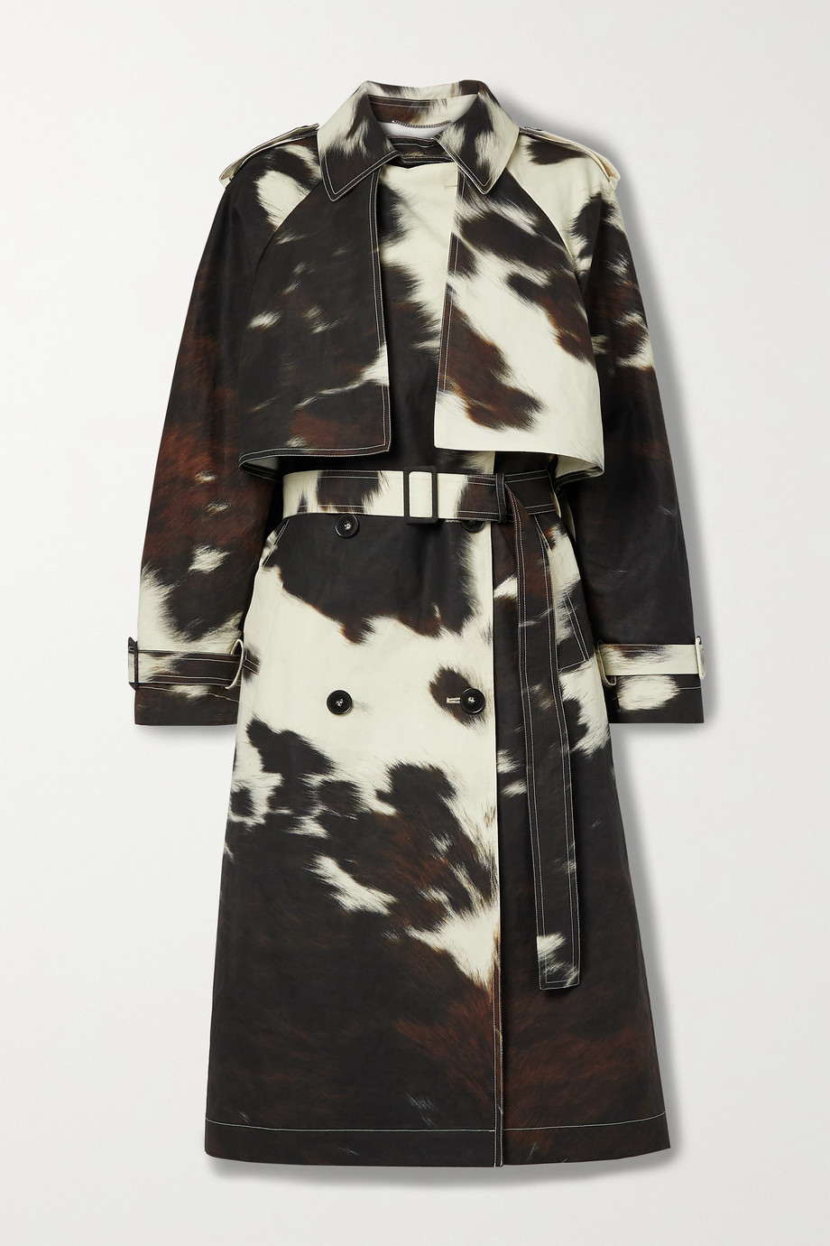 Stella McCartney Leanna double-breasted cow-print linen and cotton-blend trench coat