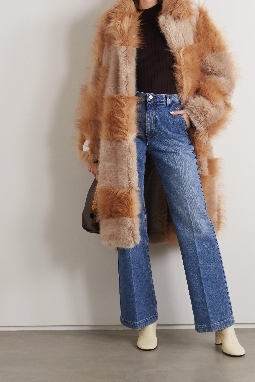 Stella McCartney + NET SUSTAIN Adrienne belted patchwork Fur-Free-Fur coat