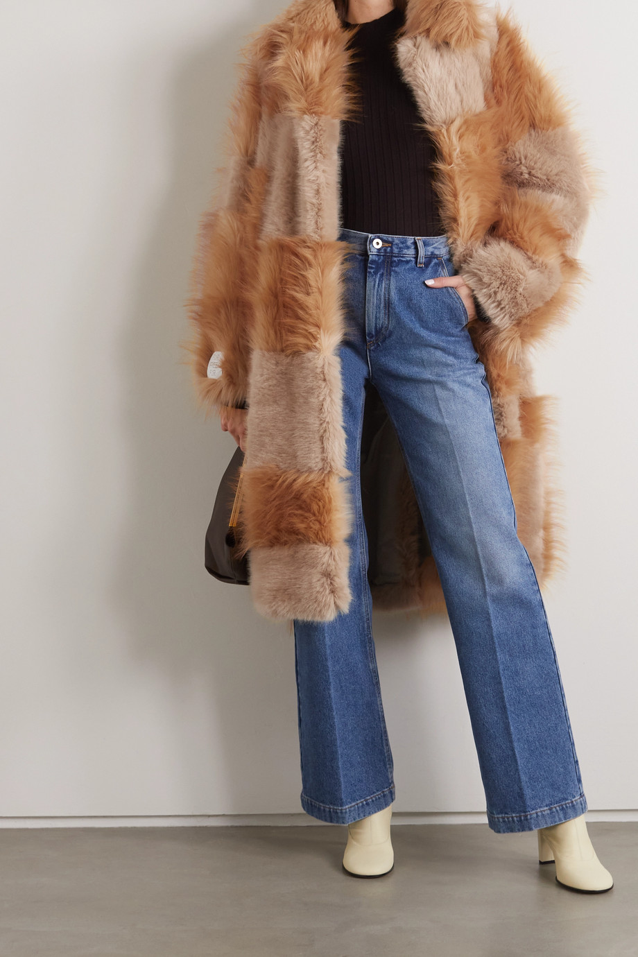 Stella McCartney + NET SUSTAIN Adrienne belted patchwork Fur-Free-Fur coat
