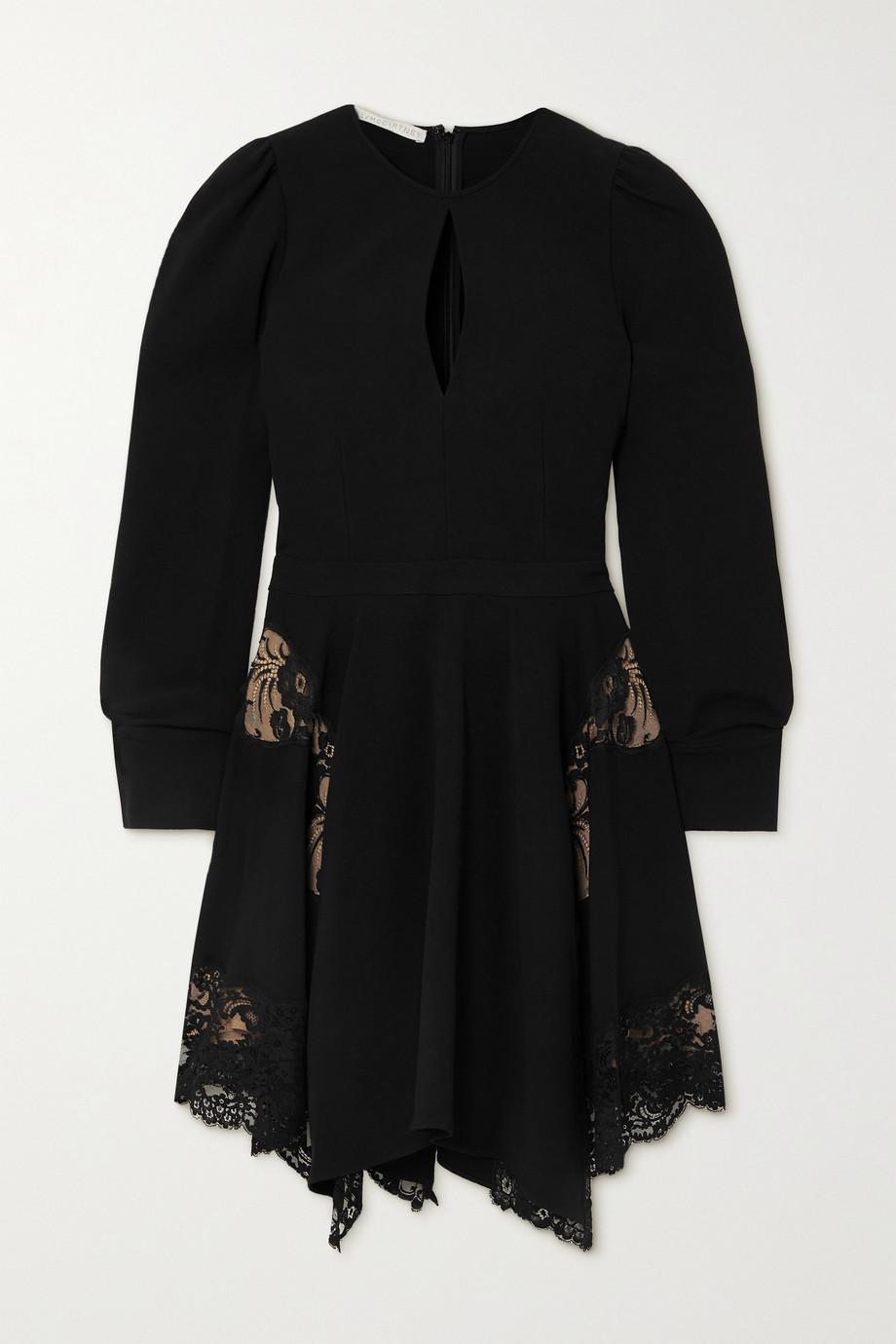 Stella McCartney Mini-robe asymétrique en cady et en dentelle Celeste - NET SUSTAIN