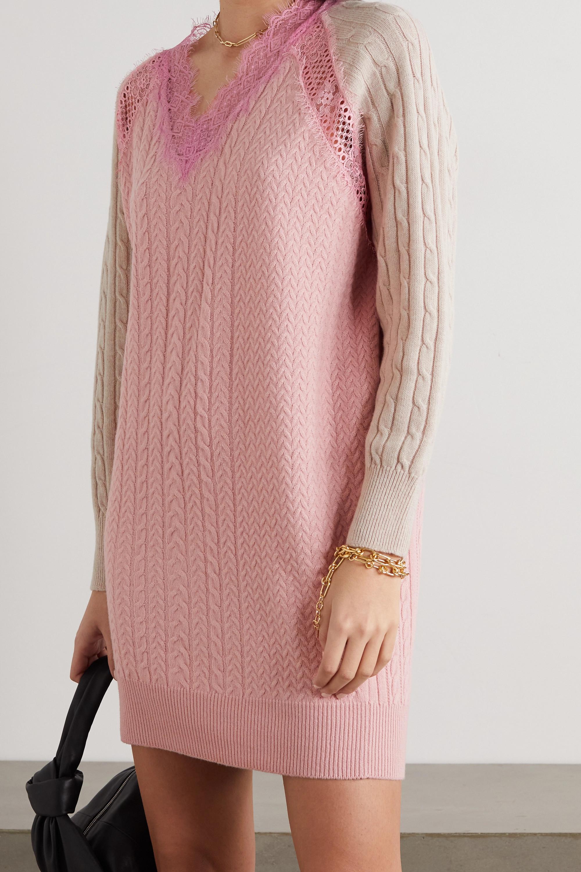 Stella McCartney Lace-trimmed cable-knit wool mini dress