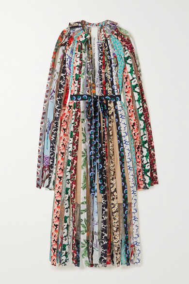 Stella Mccartney Silks GABRIELA PRINTED SILK CREPE DE CHINE AND TULLE MAXI DRESS