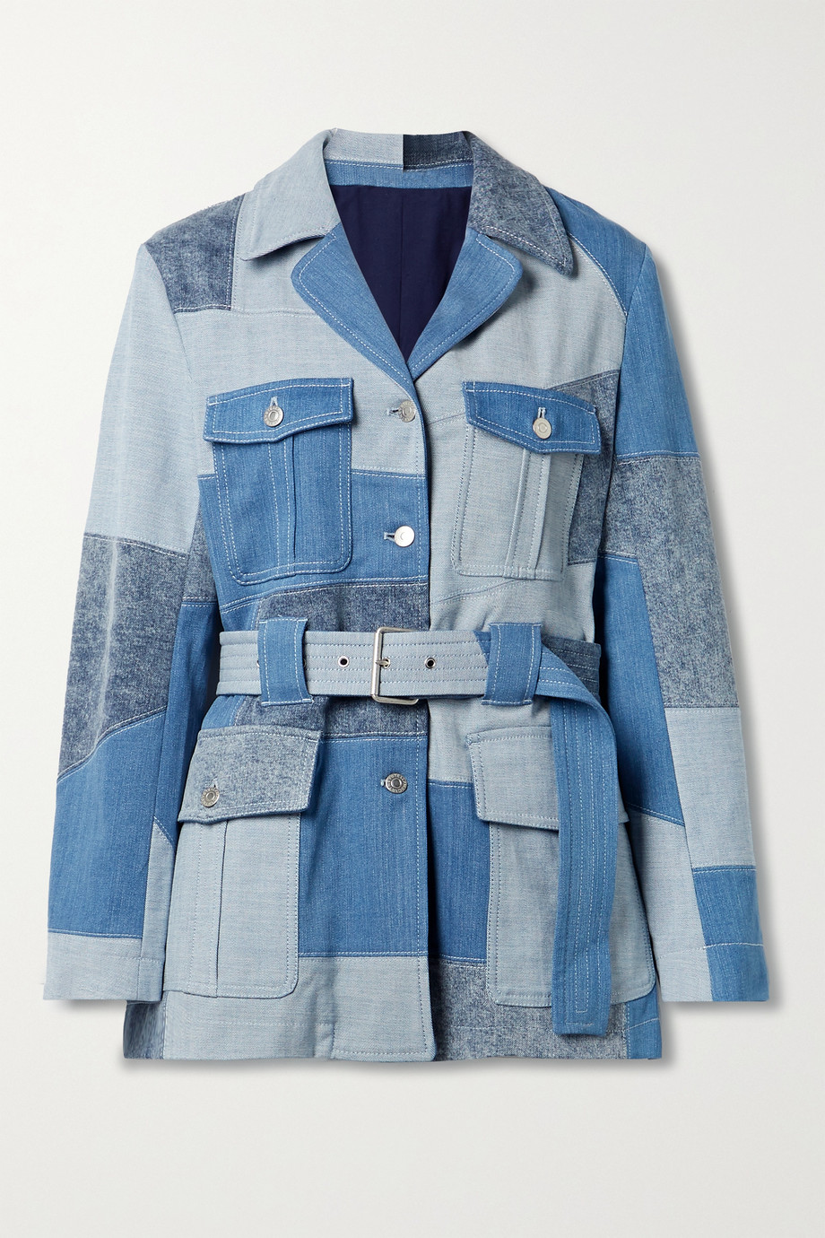 Stella McCartney + NET SUSTAIN belted patchwork organic denim jacket