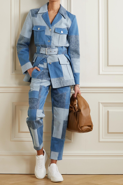 Stella McCartney + NET SUSTAIN belted patchwork organic denim jacket