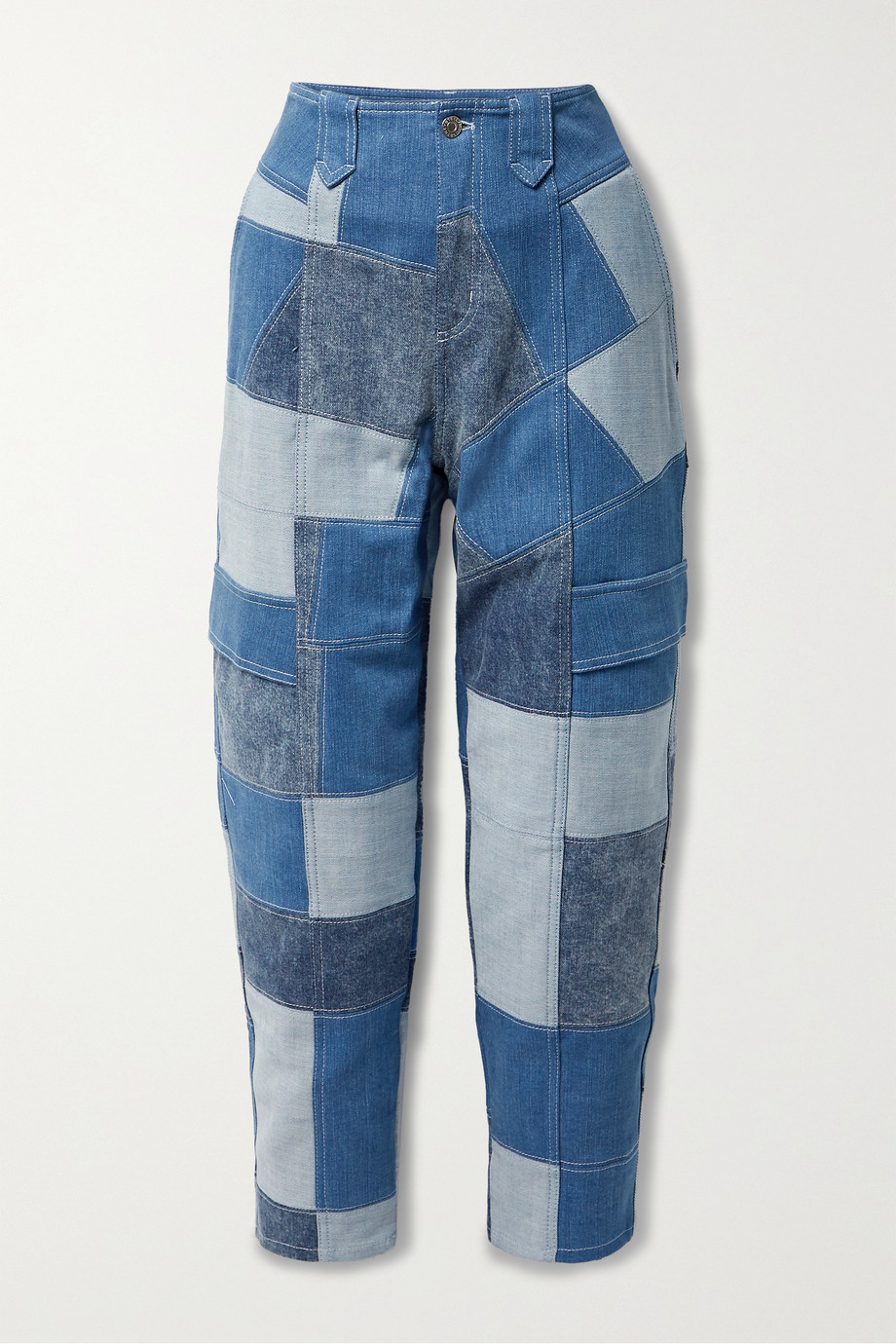 Stella McCartney + NET SUSTAIN patchwork organic tapered jeans