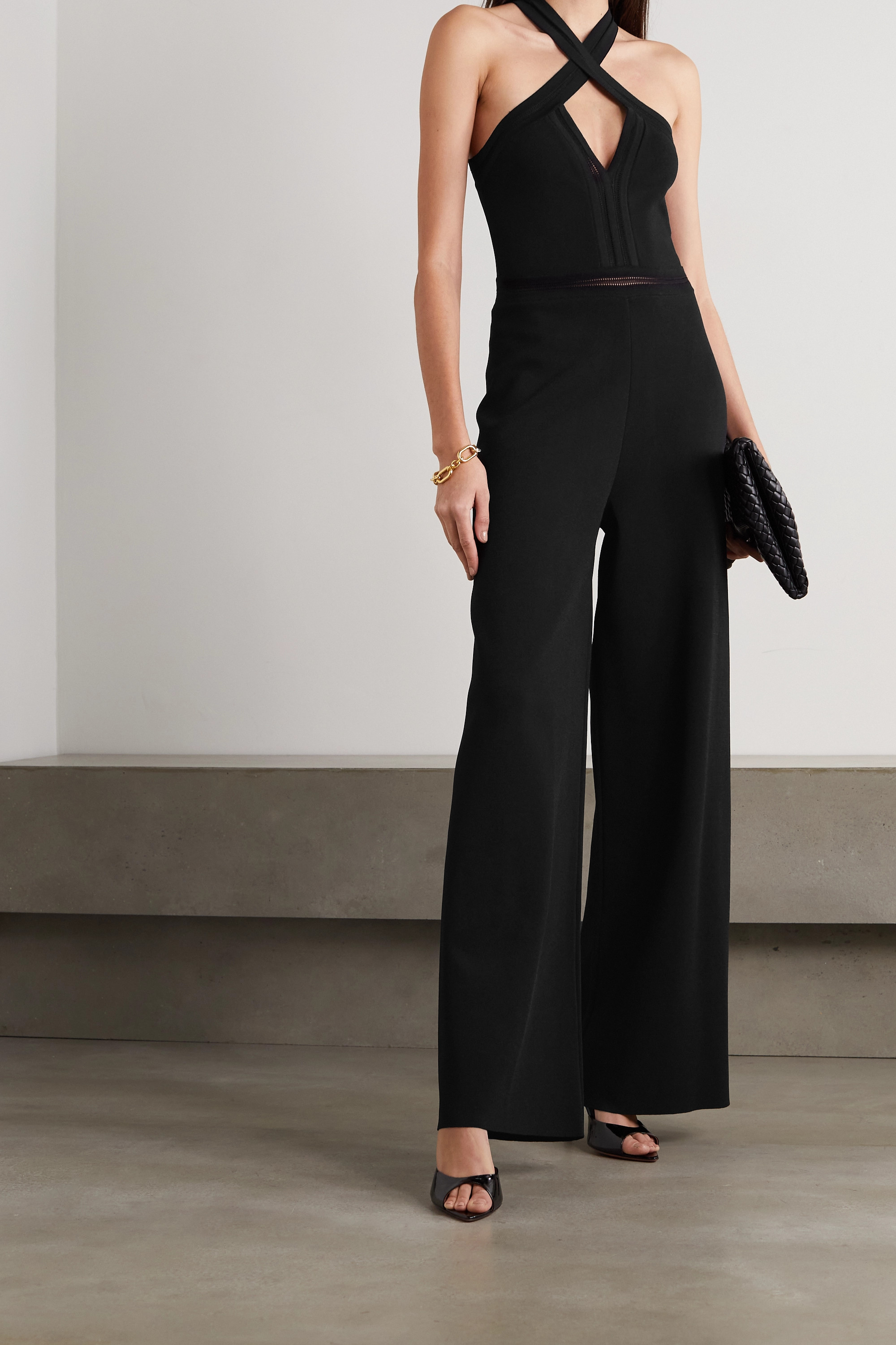 Stella McCartney + NET SUSTAIN cutout knitted halterneck jumpsuit