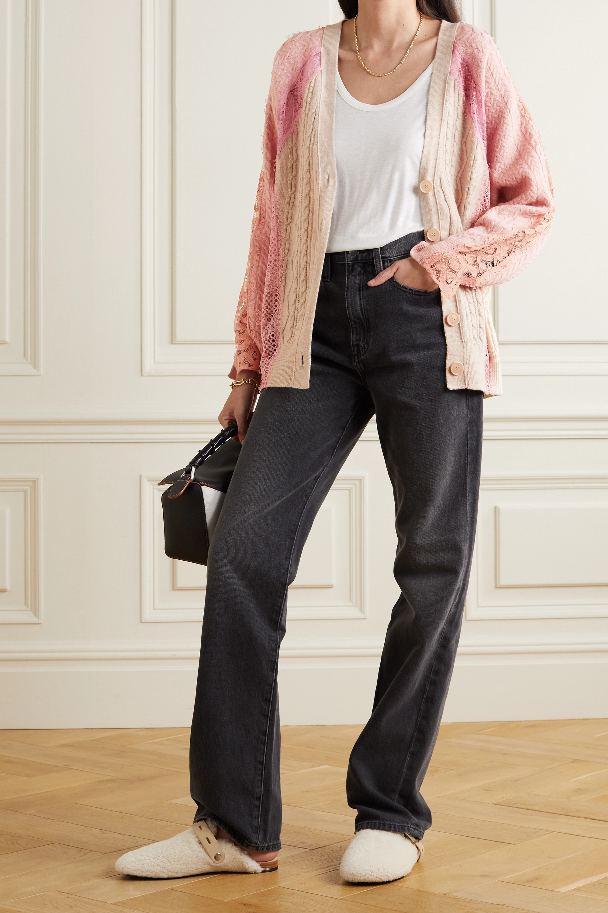 Stella McCartney Effortless lace-trimmed cable-knit wool cardigan