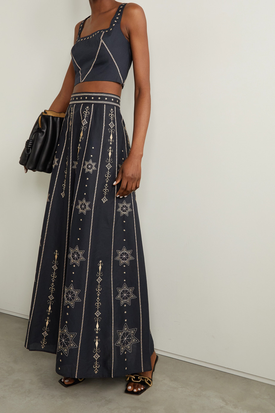 Le Sirenuse Positano Camille Palazzina embroidered cotton-poplin skirt