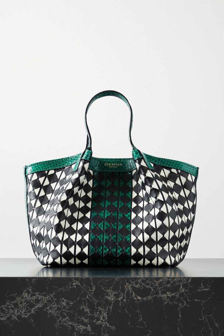 Serapian Secret mini watersnake-trimmed woven leather tote