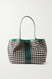 Serapian Secret small watersnake-trimmed woven leather tote