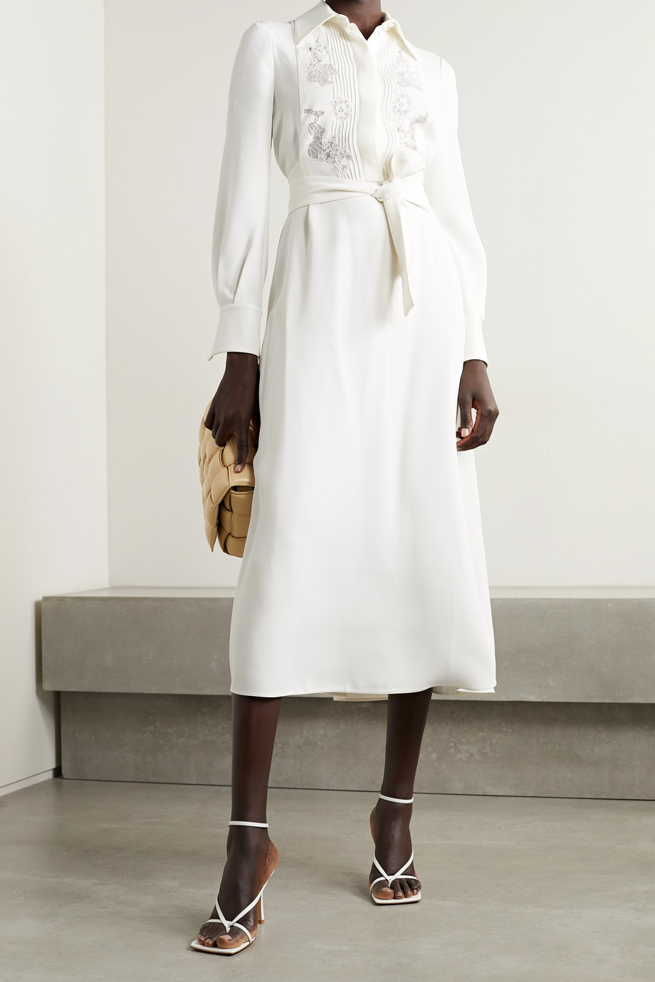 Valentino Belted lace-trimmed pintucked cady midi dress