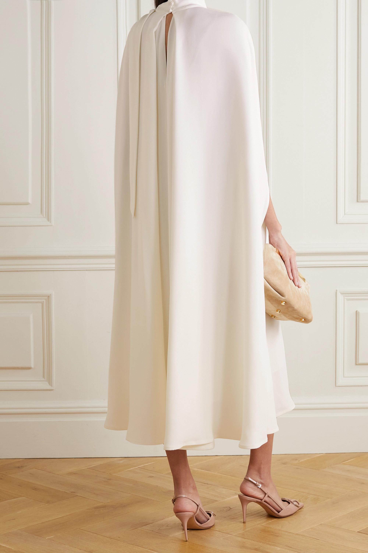 Valentino Tie-detailed cape-effect silk-cady midi dress