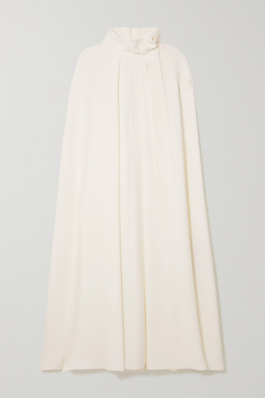 Valentino Tie-detailed cape-effect silk-cady midi dress