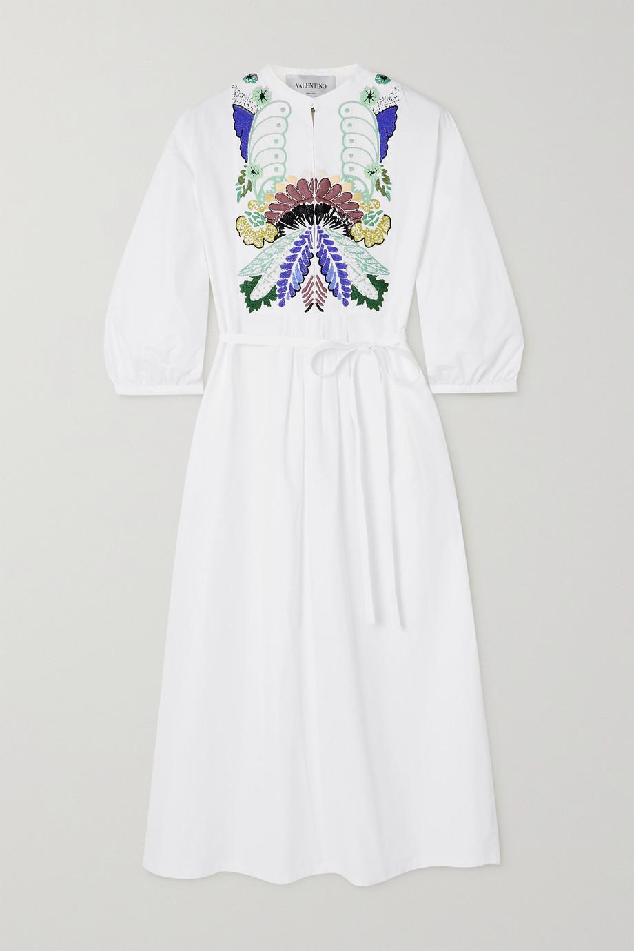 Valentino Embellished embroidered cotton-poplin midi dress