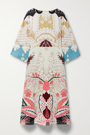 Valentino Printed silk-crepe midi dress