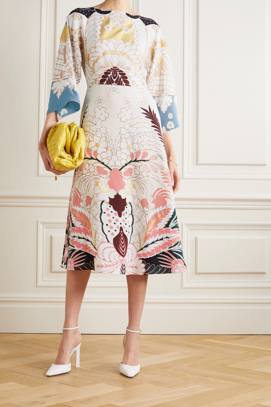 Valentino Printed silk-crepe midi dress