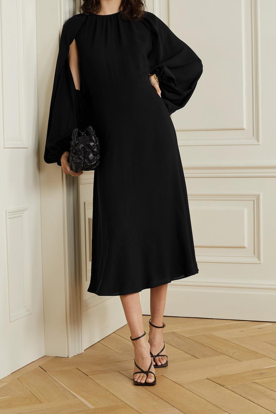 Valentino Cape-effect silk-georgette midi dress
