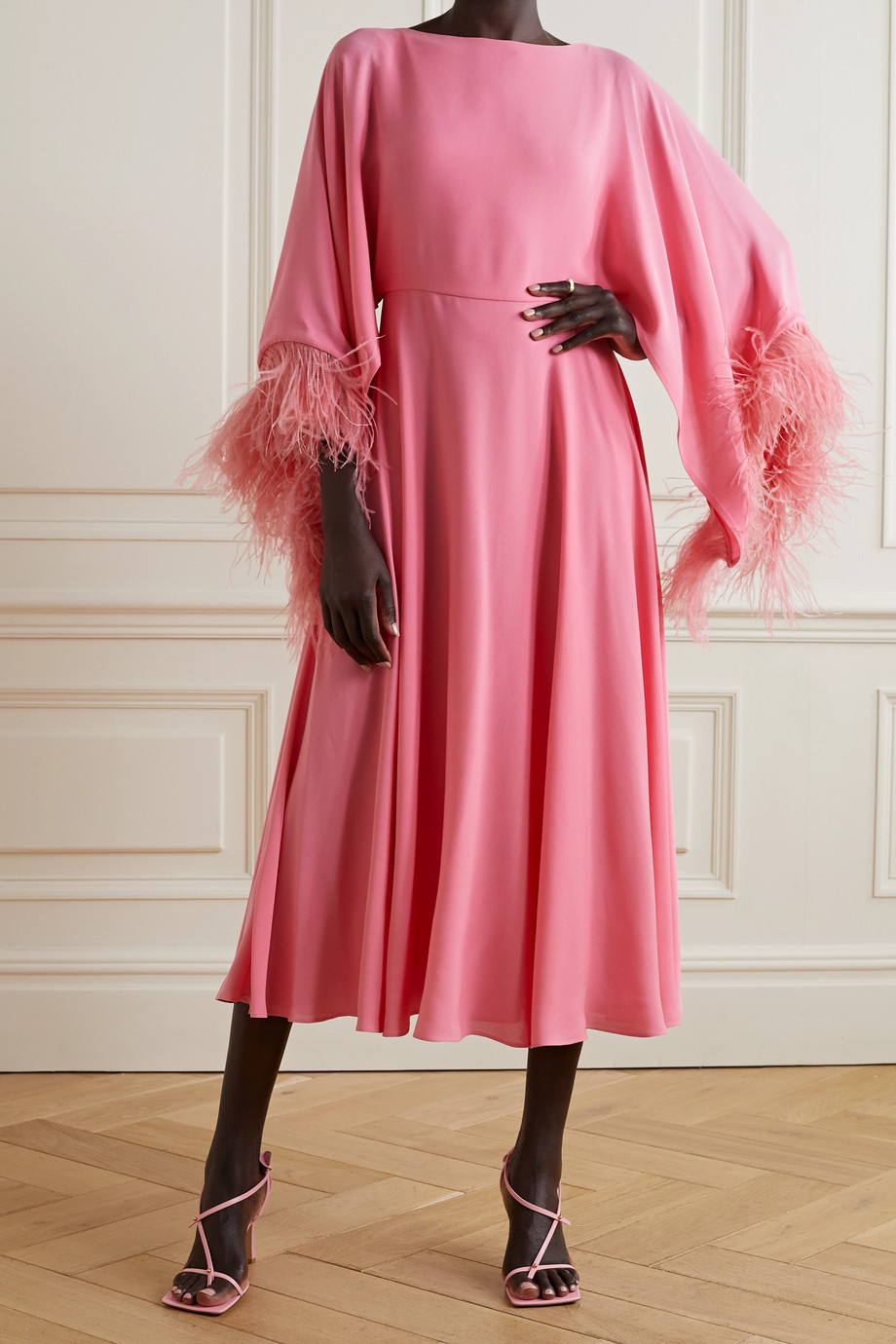Valentino Feather-trimmed silk-crepe midi dress