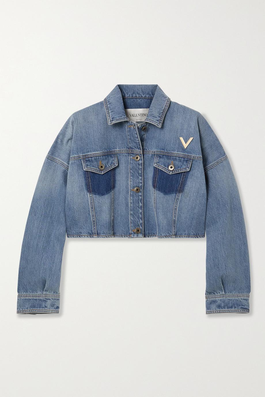 Valentino Embellished cropped denim jacket