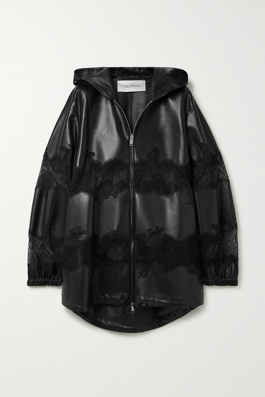 Valentino Hooded corded lace-trimmed leather jacket