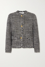 Valentino Sequin-embellished metallic wool-blend tweed jacket