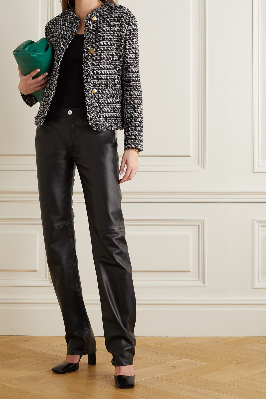 Valentino Sequin-embellished metallic wool-blend tweed jacket