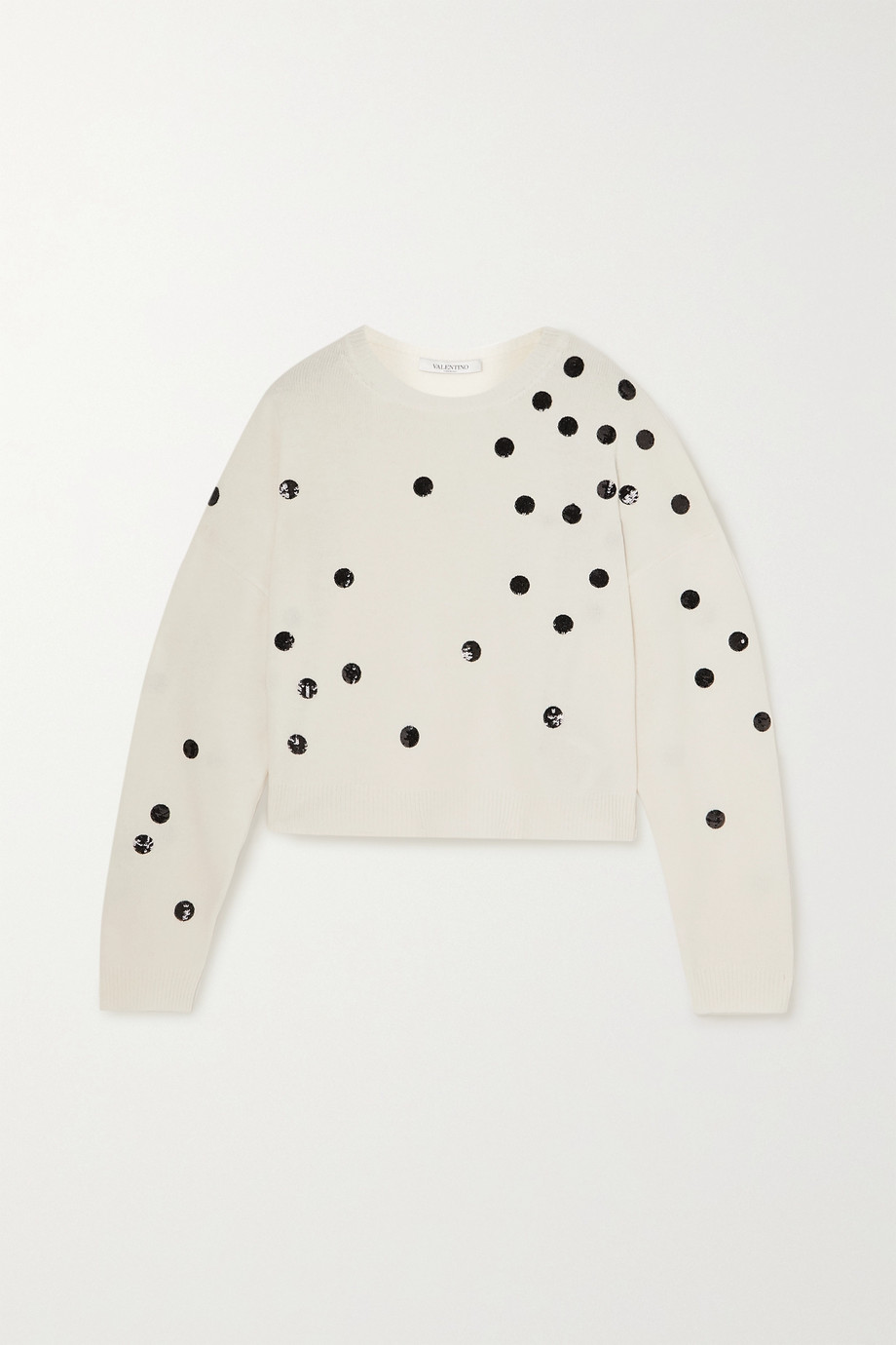 Valentino Cropped sequin-embellished wool and cashmere-blend sweater