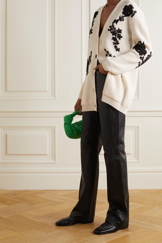 Valentino Cardigan aus einer gerippten Woll-Kaschmirmischung mit Spitzenbesätzen
