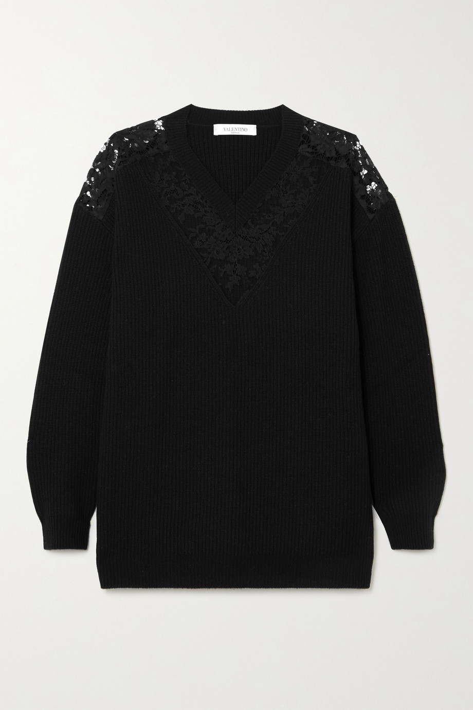 Valentino Lace-paneled ribbed wool and cashmere-blend sweater