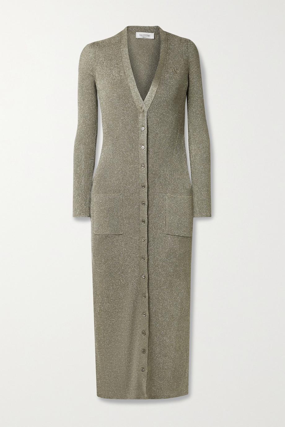 Valentino Cardigan en mailles côtelées métallisées