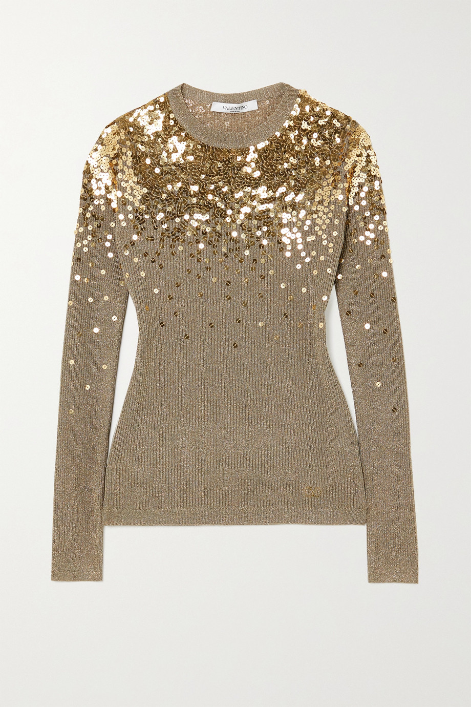 Valentino Sequin-embellished metallic ribbed-knit sweater