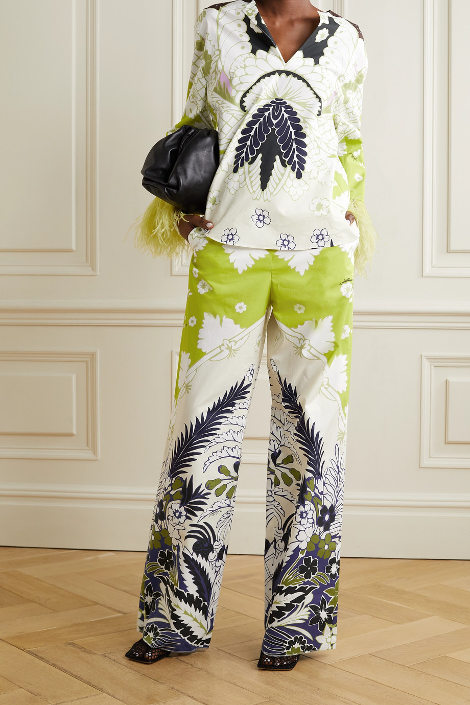 Valentino Printed cotton-poplin wide-leg pants