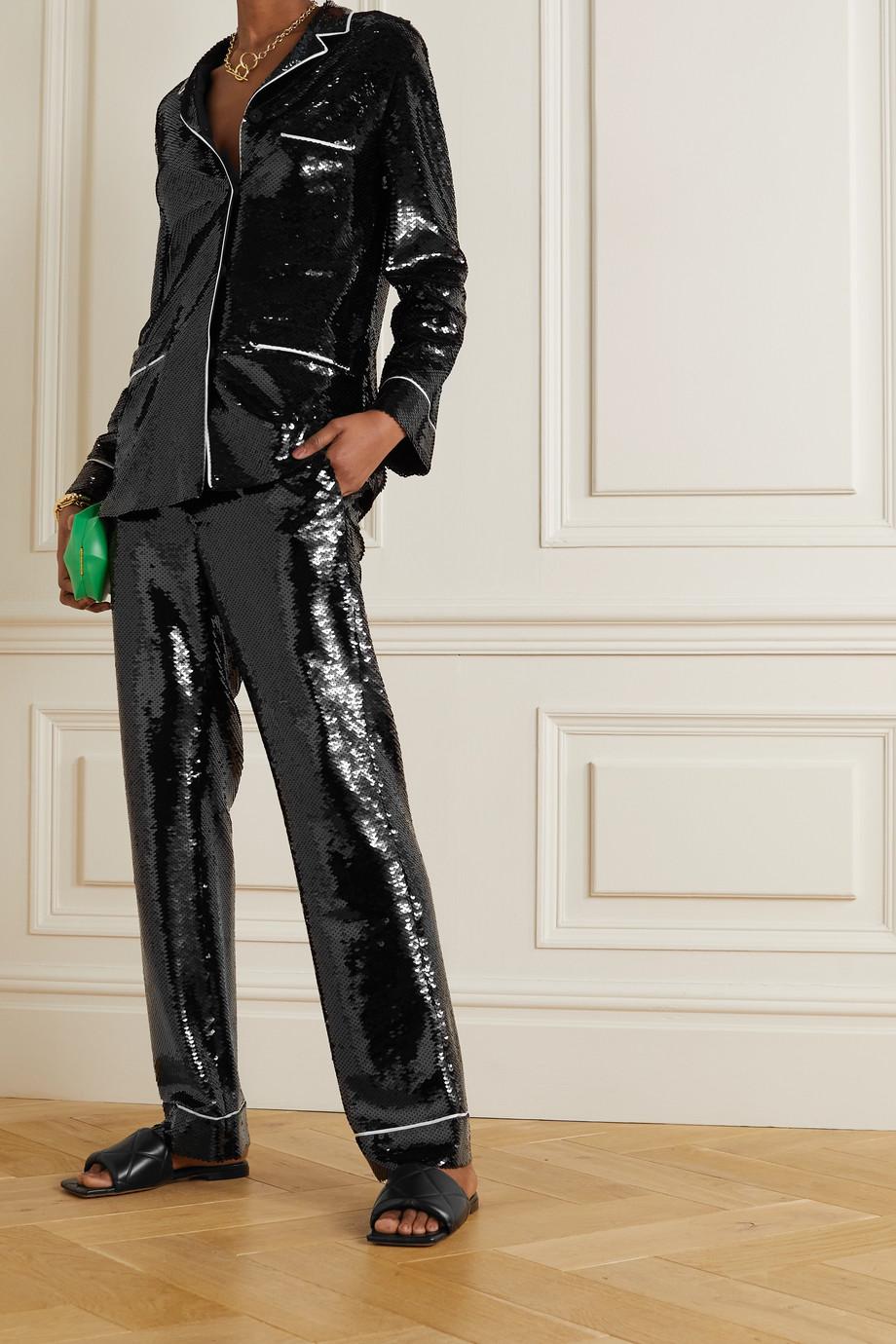 Valentino Hose mit geradem Bein aus Stretch-Crêpe mit Paspeln