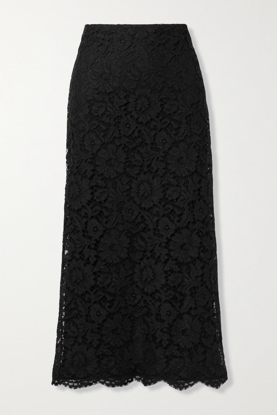Valentino Scalloped corded lace midi skirt