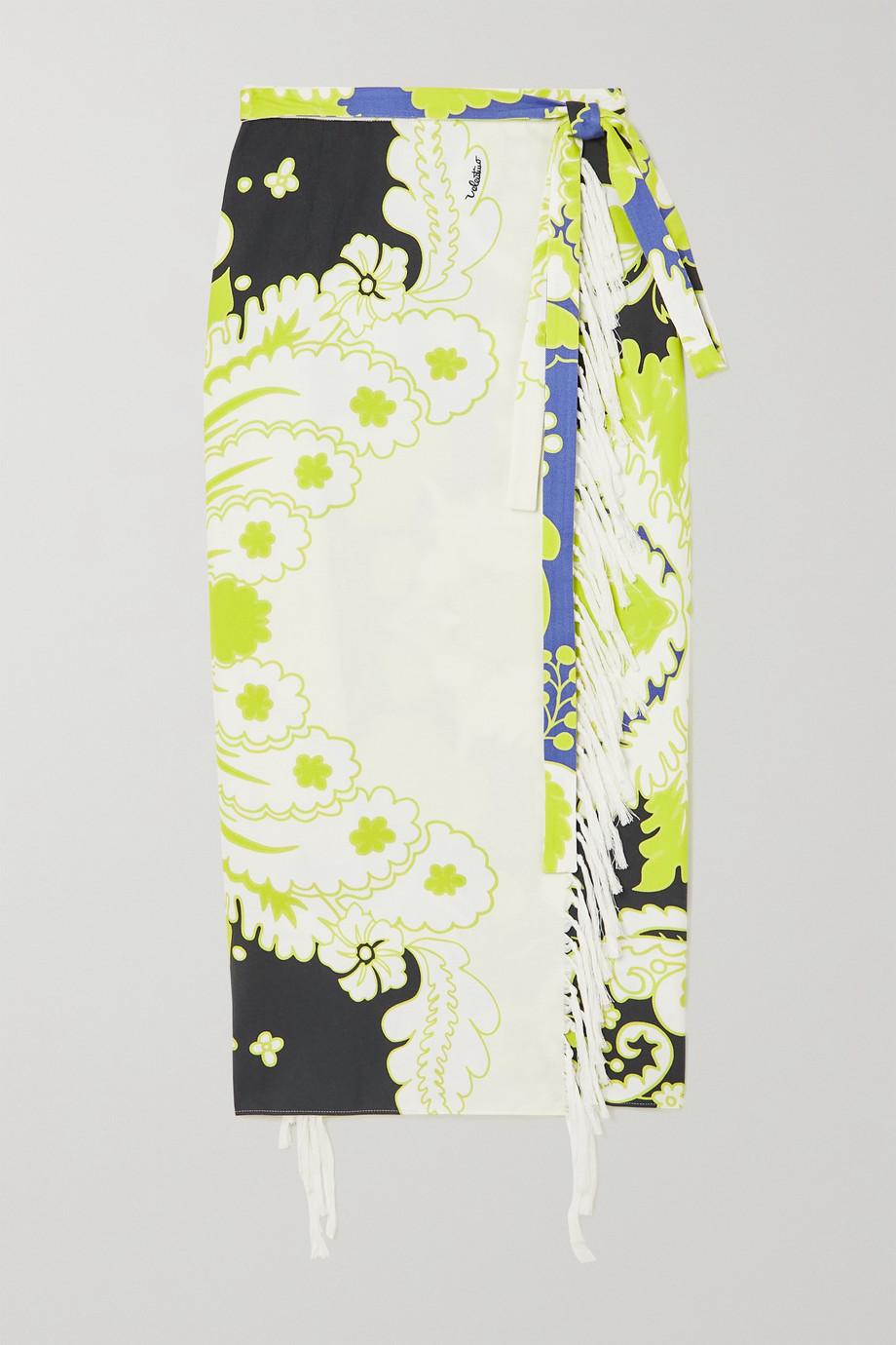 Valentino Fringed printed cotton-twill wrap midi skirt