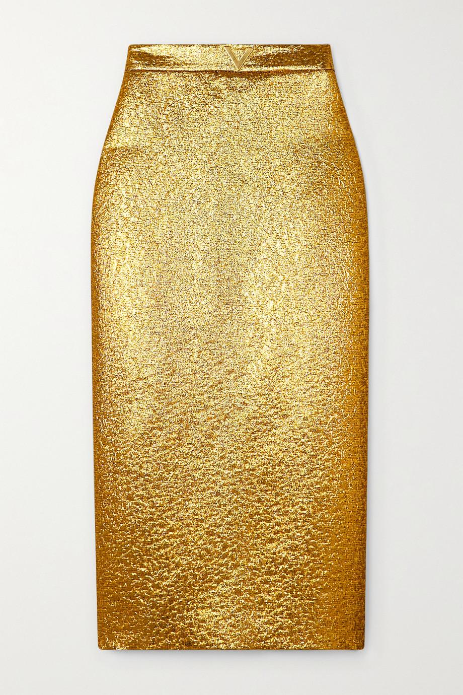 Valentino Embellished lamé midi skirt