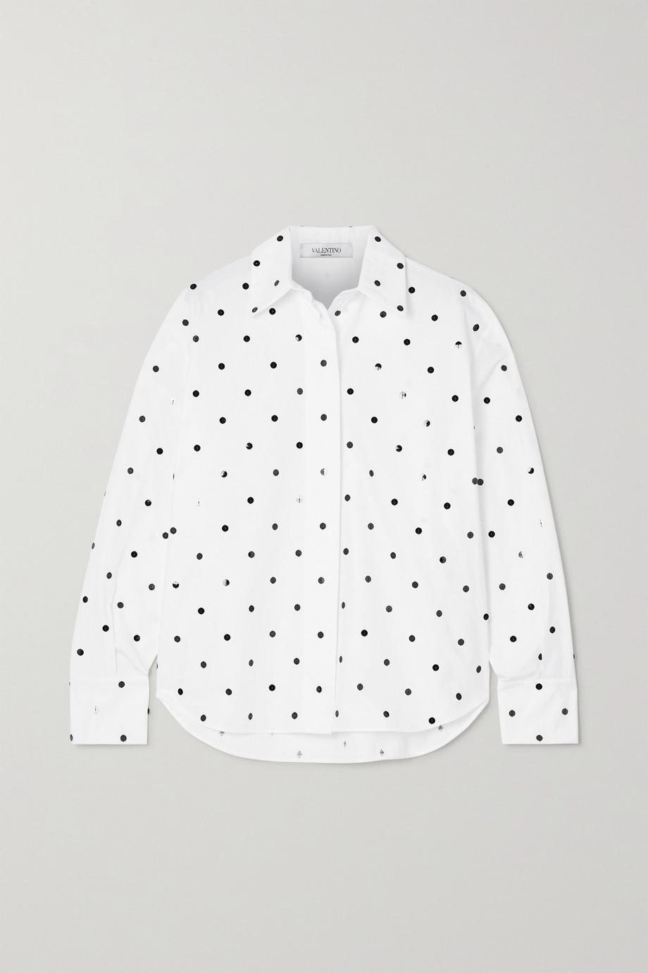 Valentino Hemd aus Baumwollpopeline mit Pailletten